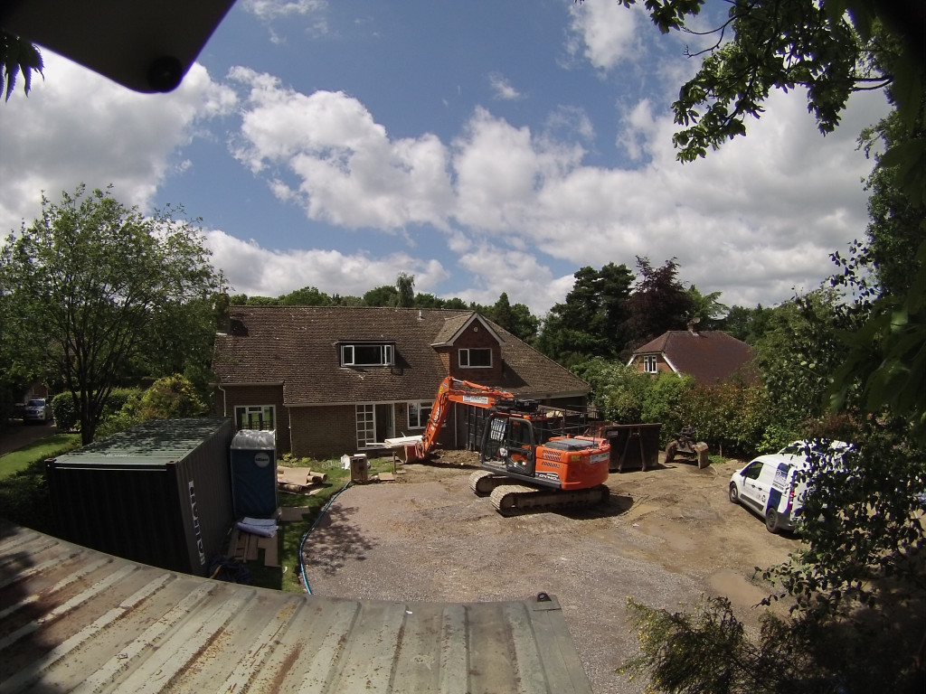 Careful demolition of the existing chalet bungalow gets underway