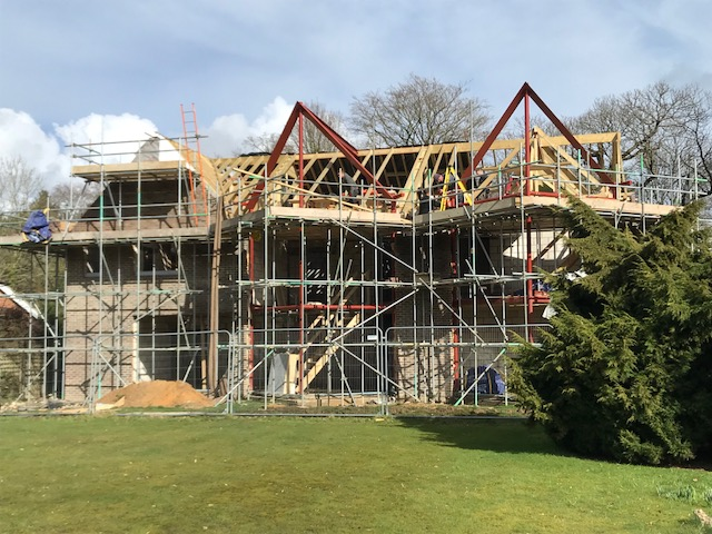 Steel gable frames erected on site
